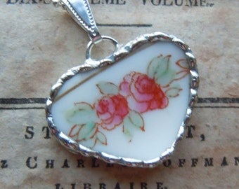 Fiona & The Fig Victorian Era-Hand Painted PINK ROSES-Broken China Soldered Necklace Pendant Charm-Jewelry
