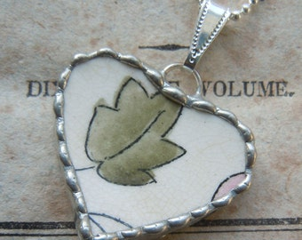 Fiona & The Fig - Antique 1860 Era Broken China - Soldered Necklace Pendant Charm- Jewelry