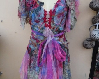 """20%OFF vintage inspired shabby bohemian gypsy dress ...large to 48"""" bust..."""