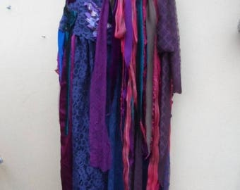 """20%OFF gothic inspired extra shabby wrap skirt/shawl...a work of art 50"""" across plus ties."""