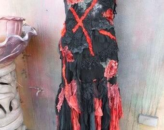 20%OFF RESERVEDgothic, punk,wildskin, fantasy, romantic, gypsy, dress, boho, gypsy dress,slip, bohemian, red dress, black lace, stevie nicks