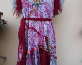 """20%OFF vintage bohemian gypsy formal wedding woodland lace dress,,medium to 40"""" bust..."""