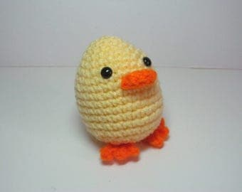 Crocheted Easter Egg Baby Duck Buddy, Holiday Amigurumi Toy, Plush Light Yellow Decoration, Ready to Ship Easter Basket Filler Gift under 10