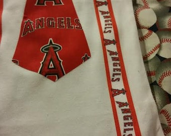 LA Angels Tie bodysuit with suspenders - Baby sizes available 0-3m, 3-6, 6-12m, 12-18
