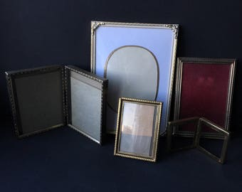 Antique Picture Photo Frames Metal Frame Lot of 5 Gold Brass Ornate Instant Collection Home Decor