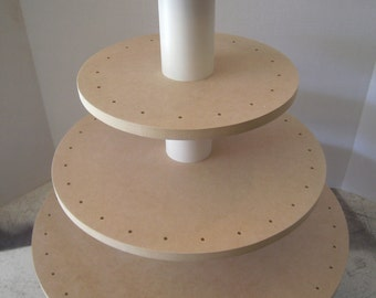 4  Tier Round Unfinished Convertible Cupcake or Cake Pop Stand. Holds 86 Cake Pops or 70 Cupcakes.