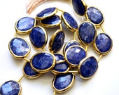 Sapphire Oval Rimmed Beads, Blue Sapphire Beads, Gold Bezeled Sapphire Beads, Gold Vermeil Bezeled Beads 16x13mm, One Bead