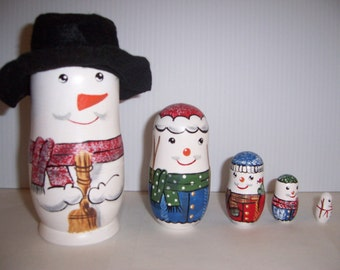Hand painted Snow Buddies Collection stacking nesting doll set