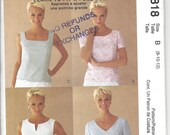Misses Tops Sewing Pattern, McCalls 2818