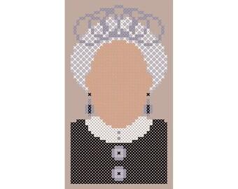 Minimalist SAPPHIRE JUBILEE Queen Elizabeth II Cross Stitch Portrait Chart