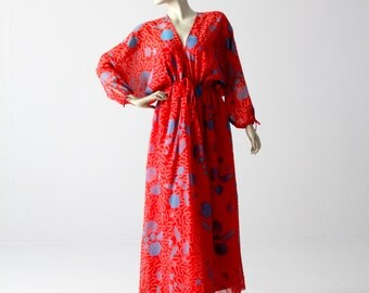 1970s Zandra Rhodes dress, boho print red maxi dress