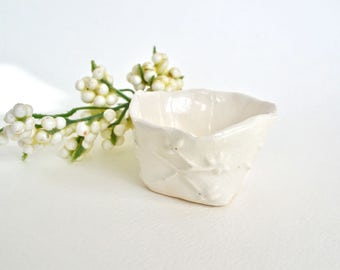 White on White Hand Sculpted Accent Piece, Flowers Vine Motif