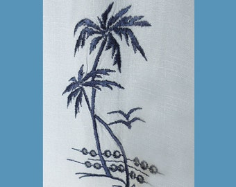1950s Royal Palm loop collar pale blue/grey shirt with embroidered palm trees / M / Key West / Florida / Tampa / rayon