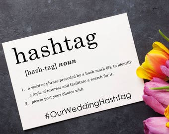 Social Media Hashtag Sign, Party Signage, Wedding Decoration, Bridal Shower Sign, Dictionary, Typography - Size 5 x 7, Printed Sign, DFNTYP