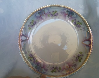 Vintage Silecia Purple and Gold Guilded Collector Plate