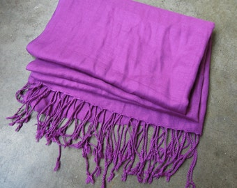 Fuchsia Purple Muffler Super Soft Cashmere Feel 100% Viscose Fringed Neck Scarf