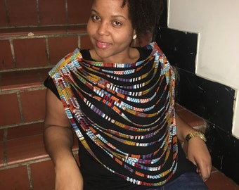 Queen Kente Multi Strand African Print Tribal Fabric Goddess Necklace Made to Order