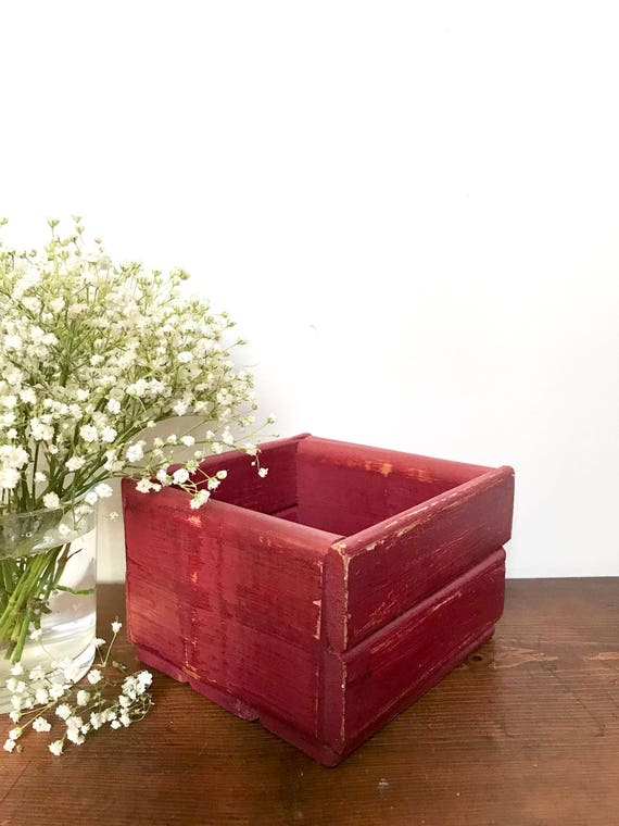 Rustic wooden box small garden planter centerpiece