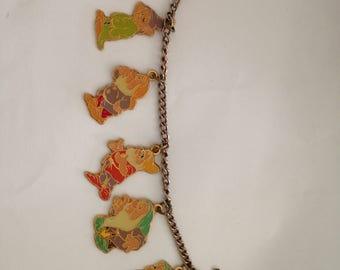 Vintage 1960s Cloisonné Seven 7 dwarfs Charm Bracelet