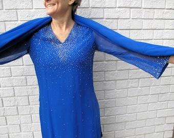Salwar Kameez in Royal Blue Silk Chiffon with Matching Dupatta(Shawl)-Size 10-12