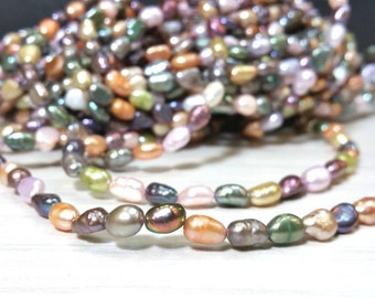 SALE 7 to 8 mm Freshwater Pearl Nugget Beads Multi Colors Mix Colors - Spring Color Project 15 Inch strand (G5952NW15Q5)
