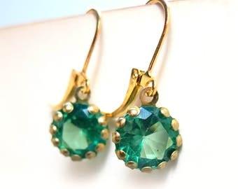 Green Rhinestone Dangle Gold French Clip Earrings - 5 Colors