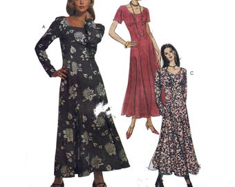UNCUT Easy Sewing Pattern for Empire Waist Dress with Short or Long Sleeves Vintage 90s Size 8 10 12 Bust 31.5-34 McCall's 6808