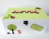 Personalised woodland themed baby wooden memory box keepsake Box New Baby Gift Birthday Gift