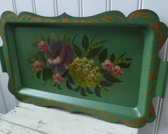 Tole Tray, Metal, Hand Painted Flowers. Vintage 1950s. Green Blue. Scalloped Edge, Handles. Roses, Hydrangeas. Cottage Spring Wall Decor.