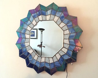 Shade of Blue Stained Glass Octagon Mirrow with LED Lights