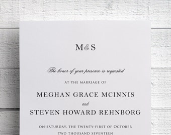 Formal Wedding Invitations, Traditional Wedding Invitations, Black and White Invitations, Formal Invitations, Formal Wedding, SAMPLE