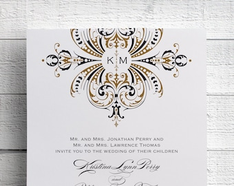 Art Deco Gold Wedding Invitations, Gold Monogram, Foil, Gold Invitation, Gold Invites, Printed, Vintage Gold, Gold and Black