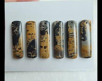 New,6 PCS Chohua Jasper Gemstone Pendant Beads Set,40x10x4mm,22.6g(e0145)