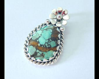 Sterling Silver 925 Turquoise pendant,32x20x4mm,5.8g(e0590)