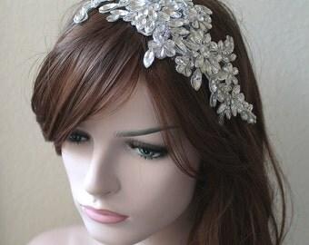 Elegant swarovski crystal beaded wedding headpiece. Gatsby bridal lace rhinestone tiara. Bridal Crown. ENCHANTRESS