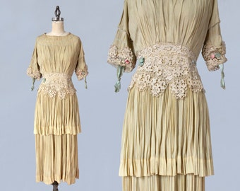 1910s Dress/ Edwardian Wedding Dress / RARE Ecru Pleated Gown / Very Wearable!