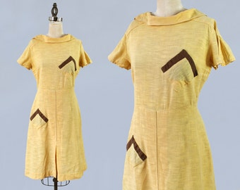 RESERVED 1930s Dress / Late 30s Early 40s Cotton Day Dress / Art Deco / POCKETS / 1940s