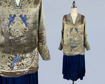 RARE!! 1920s Dress / 20s Metallic Lamé BEADED Dress / Beaded Bluebirds / Blue Silk Velvet / Soutache