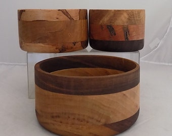 Set of 3 Handmade Wooden Nesting Bowls Maple and Walnut NOT FOR FOOD