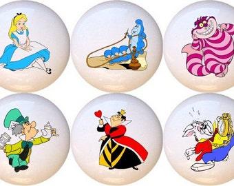 Set Of 6 Disney Alice In Wonderland Ceramic Drawer Pull Cabinet Knobs