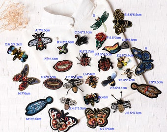 4-15pcs insects flower Rhinestones sequins beads clothes dress appliques patches UJ51SC5C124N free ship
