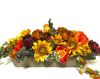 "Bright Fall Sunflower Peony Rose Arrangement Floral Centerpiece Thanksgiving LARGE Silk Floral Sunflower Mix Pumpkin 36"" (l) x 14""(h)"