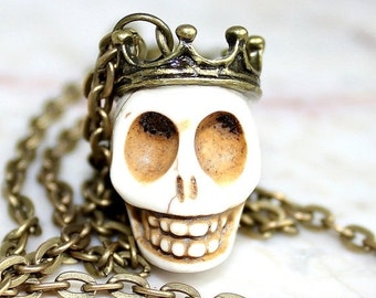 SALE Day of the Dead Skull Necklace Dia de los Muertos Traditional King Crown White Atlanta Jewelry