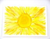 Sun Watercolor Original Art Greeting Card, Hand Painted Greeting Card, Handmade Card, All Occasion Card, Blank Card, Easter Card