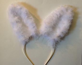 White Fuzzy Bunny Ears