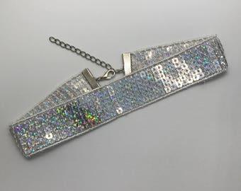 Silver Sequin Sparkle Choker