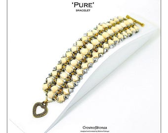 Bead pattern DIY bracelet Pure with Silky beads, O beads, fire polished beads, bicones and seed beads