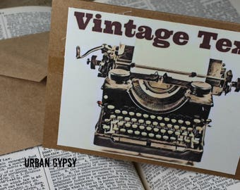 C 108 Vintage Image Typewriter Funny Text Joke Note Card Greeting Card Paper & Party Supplies