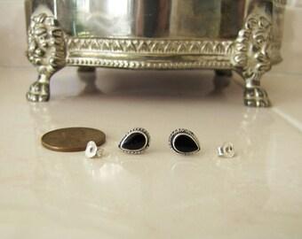 Teardrop onyx Sterling Silver Stud Earrings