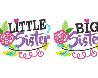 Little sister and Big sister, sisters, shabby chic flower, roses, classy arrow, Aztec, rose machine embroidery applique designs 4x4 and 5x7